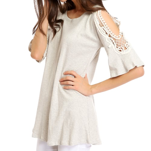 Fashion Women Short T Shirt Cut Out Crochet Lace Shoulder Half Sleeve Flare Cuff O Neck Loose Casual Top Tee Grey фото