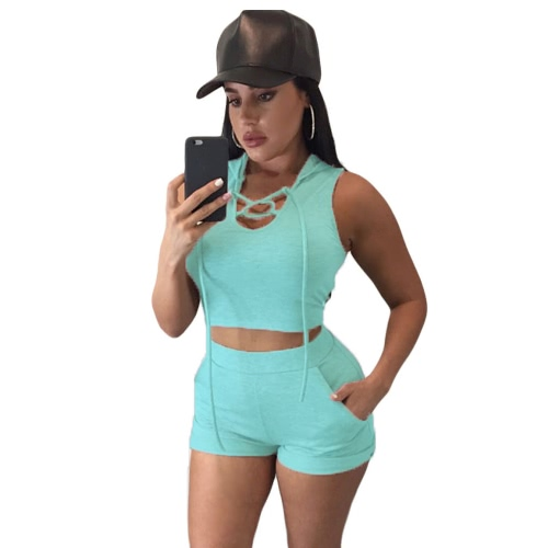 New Fashion Women Two Piece Set Crop Top Shorts Hooded Self Tie Sleeveless Strecth Wasitband Casual Suits