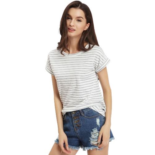 TOMTOP / Women Stripe Tee Casual Printed T-Shirt Loose Tee Top Short Sleeve White