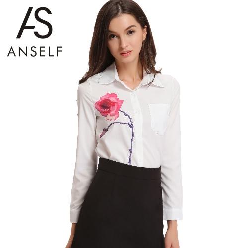 Fashion Rose Print Lapel Button Long Sleeve Shirt Women's White OL Blouse