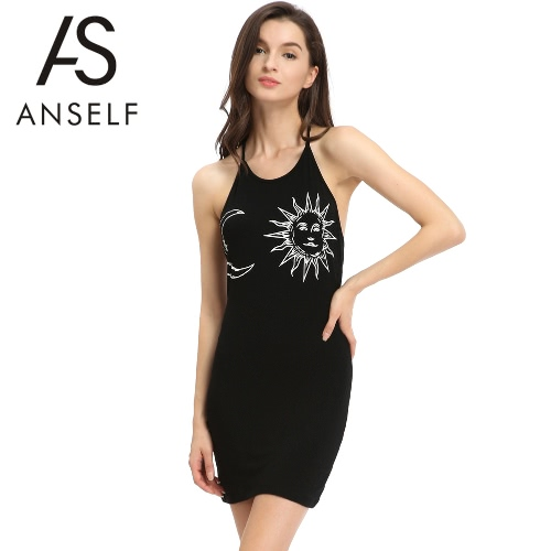 Summer Women Dress Sundress Halter Sun Moon Print Open Back O Neck Sleeveless Mini Tank Dress Beachwear Black