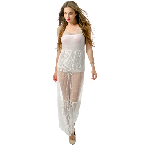 V cuello atractivo de las mujeres Vestido largo de encaje de malla sin mangas largo de Boho ropa de playa semi-transparente del tanque del vestido blanco
