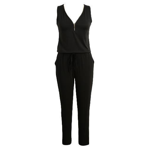 Nova Moda Mulheres Jumpsuit cor sólida Pescoço V mangas cintura elástica auto-Tie bolso Casual Playsuit Romper Preto / roxo / verde