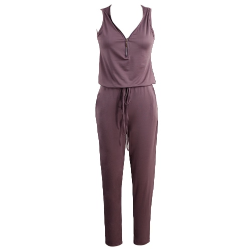 New Fashion Women Jumpsuit Solid Color V Neck Sleeveless Elastic Waist Self-Tie Pocket Casual Playsuit Romper Black/Purple/Green