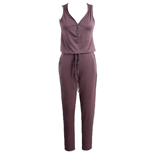 新しいファッションの女性のスーツソリッドカラーVネックノースリーブ弾性ウエスト自己ネクタイポケットカジュアル遊び着ロンパースブラック/パープル/グリーン