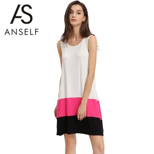 Nova forma das mulheres mini vestido Splice em torno do pescoço sem mangas Casual solta Tanque Vestido Branco