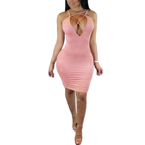 Nowe Seksowne kobiety Mini BODYCON Dress Up Lace Plunge V-Neck bez rękawów Party Klub Sundress Khaki / różowy / żółty