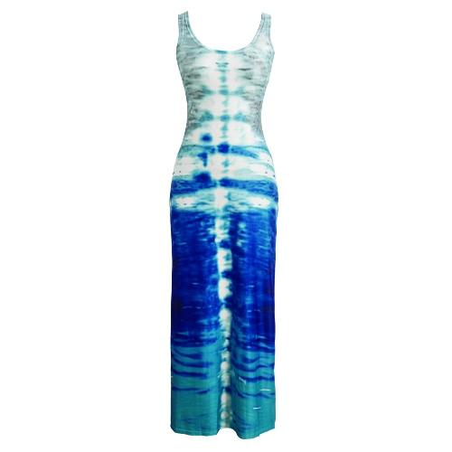 Женская мода Макси платье Абстрактный контраст печати Scoop шеи без рукавов Пляж Лето длинное платье Синий