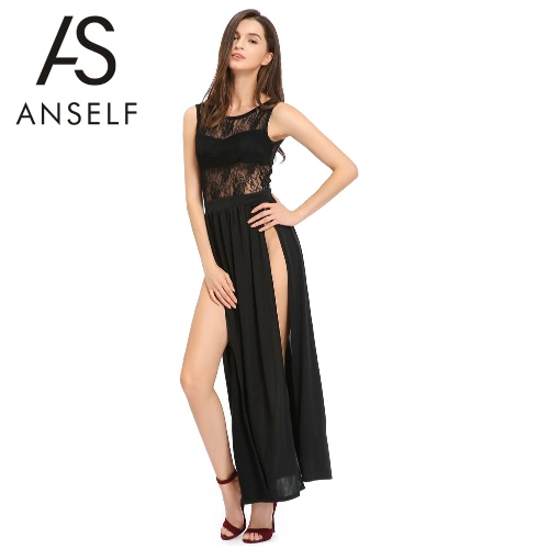 Nowe mody Kobiety Maxi Dress Mesh Gorset Głębokie V Back Side Wysokie Dzieli rękawów Sexy body czarne