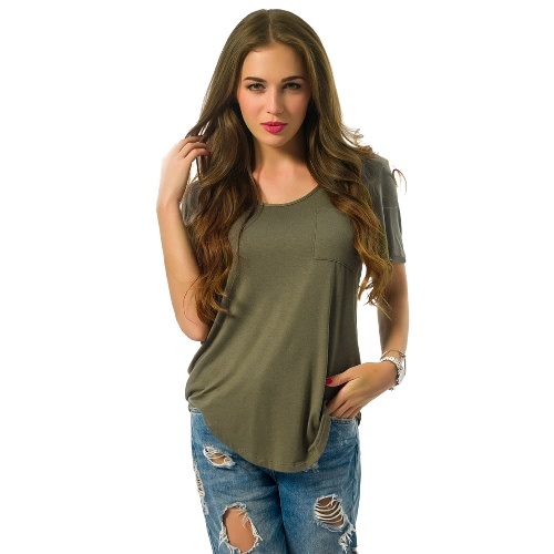 Women Plus Size T-Shirt Chest Pocket Casual Tunic Top Solid Color Loose Tee