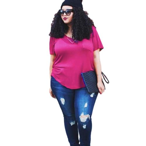 Le donne più la maglietta Formato Cassa tasca casuale tunica Top solido di colore T allentato
