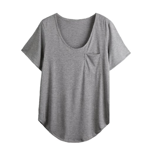 Frauen Plus Size T-Shirt Brusttasche Lässige Tunika Top Solid Color lose T-Grau