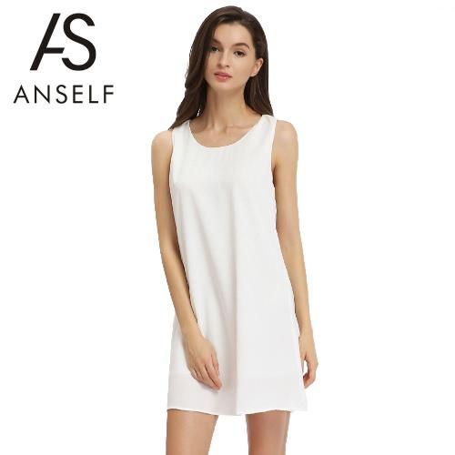 New Moda feminina sem mangas vestido de chiffon cor sólida Bow Partido Mini reta Vestido Verão Casual Vestido de Verão Branco