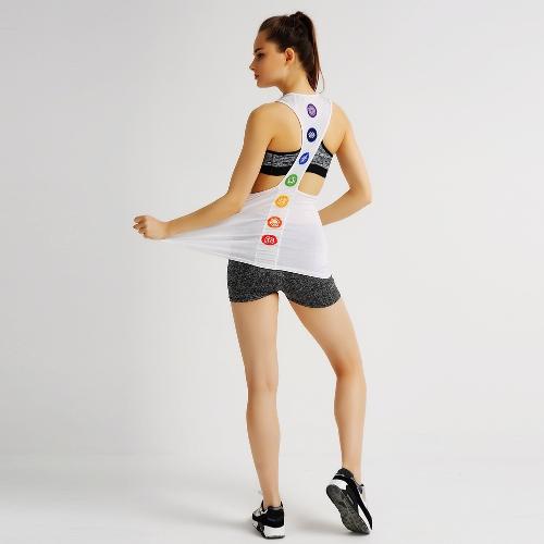 La nueva manera deportes de las mujeres del chaleco de O-Cuello sin mangas de impresión especial espalda deportiva sin mangas de yoga de la aptitud Running Top