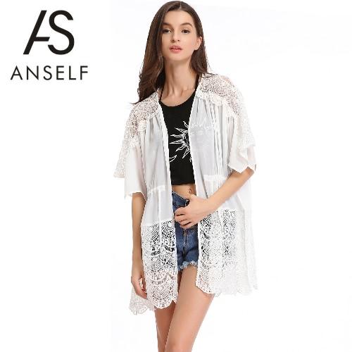 New Mulheres Chiffon Casacos Abrir Frente Floral Crochet mangas morcego com cordão fina solta Praia Cover Up Branco