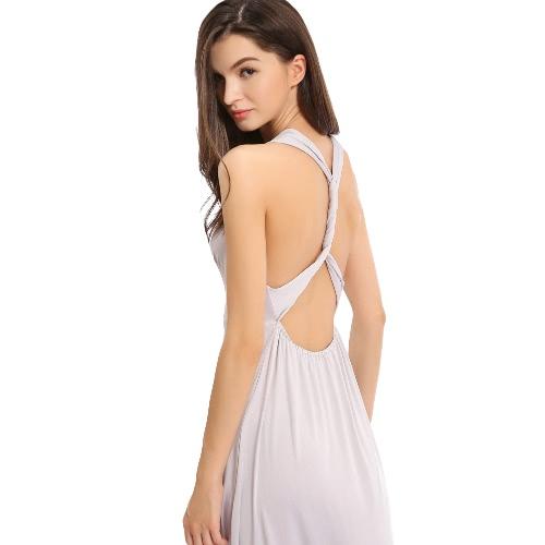 Новая мода женщины Спагетти ремень рукавов выдалбливают Backless летнее платье Повседневный Sundress Серый фото
