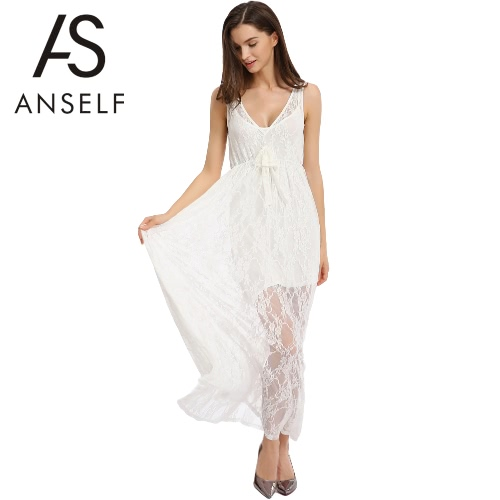 Kobiety Moda koronki Hollow Out Długa Sukienka Floral szydełka Tłoczenie V-Neck bez rękawów Maxi Swing białej sukni