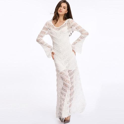 TOMTOP / Vestido de las mujeres de la nueva manera escarpada del cordón del cuello redondo de la manga de la llamarada Maxi swing largo vestido blanco