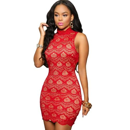 Sexy Kobiety BODYCON Koronkowa sukienka z golfem Przycisk Back Party Line Clubwear Mini suknia czarny / niebieski / czerwony