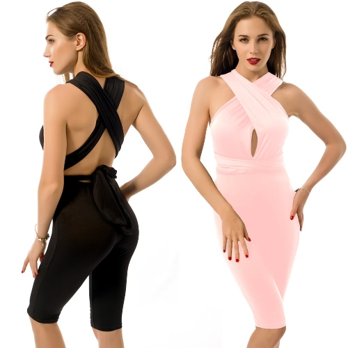New Sexy Women Jumpsuit Bandage V-Neck Backless Bodycon Nightclub Party Playsuit Short Rompers Overalls Black/Pink