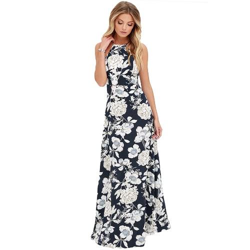 Nuevo mujeres atractivas del vestido maxi del cuello del halter sin mangas de la impresión floral de verano de la playa de vacaciones en Long Slip Vestido Azul / Negro
