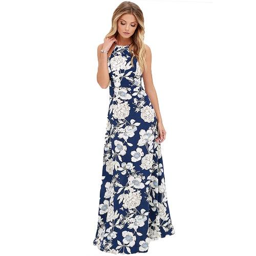 Nuevo atractivo de las mujeres del vestido maxi del cuello del halter de la impresión floral sin mangas de la playa del verano de vacaciones en Long Slip Vestido Azul / Negro