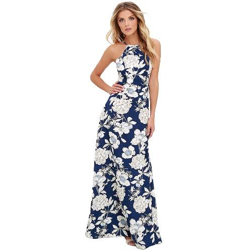 Vestido largo sin mangas del resbalón del día de fiesta de la playa del verano de las nuevas mujeres atractivas de Maxi del halter del cuello de la impresión floral azul / negro