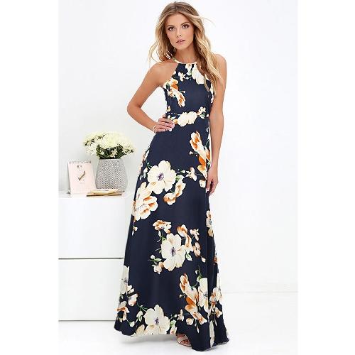 Vestido largo sin mangas de las nuevas mujeres atractivas Maxi Dress Halter Neck Floral sin mangas de la playa del verano Vestido largo del resbalón