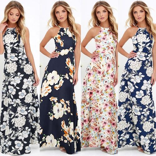 New Sexy Women Maxi Dress Halter Neck Floral Print Sleeveless Summer Beach Holiday Long Slip Dress