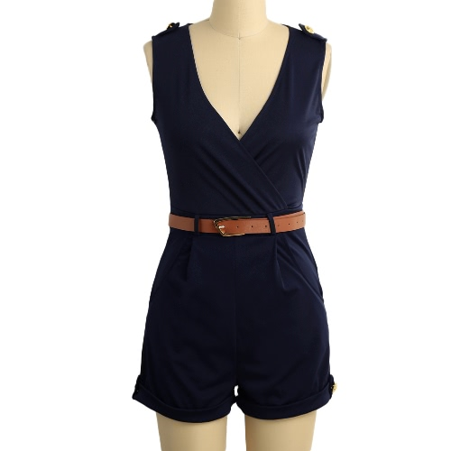 Sexy Women Jumpsuit Plunge V-Neck Crop Cross Pockets Button Casual Overalls Playsuit Rompers