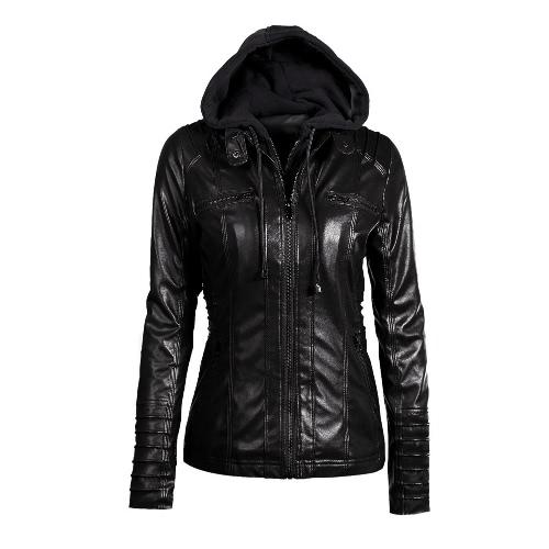 Women's Faux Leather Hooded Jacket Zippered Hoodie Short Slim Motorcycle Jacket Coat