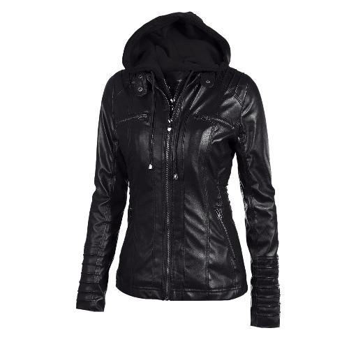 Imitación de cuero Mujeres chaqueta con capucha con cremallera con capucha delgado corto de la motocicleta chaqueta de la capa
