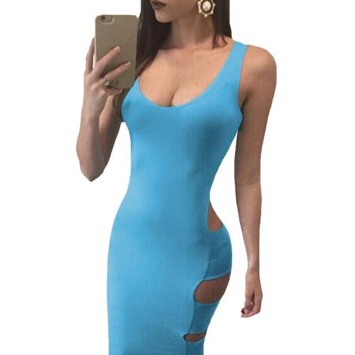 Las nuevas mujeres del vestido del vendaje con cuello redondo escotado en Volver mangas recortes secundarios atractivo del club Vestido azul claro