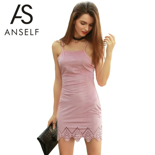 Neuer Frauen-Suede-Spaghetti-Bügel-Kleid-Gewirr Zurück Selbstriegel-Bügel Lacer Cut Hem Sexy Minikleid Rosa
