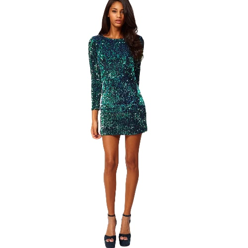 New Sexy Women Sequin Bodycon Dress Round Neck 3/4 Sleeve Plunge Back Party Evening Mini Club Dress Green