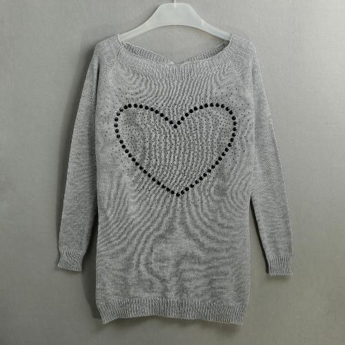Moda feminina camisola Rhinestone Cut Out Strap Alças Raglan manga comprida Casual Top preto / branco / cinza
