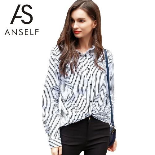 Las nuevas mujeres camisa de impresión de la raya del collar del punto del botón de manga larga OL Lade top de la blusa blanca