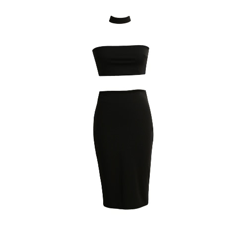 New Women Two-Piece Set Off Shoulder Back Zipper Closure Halterneck Crop Top Midi Skirt Set White/Black/Dark Green