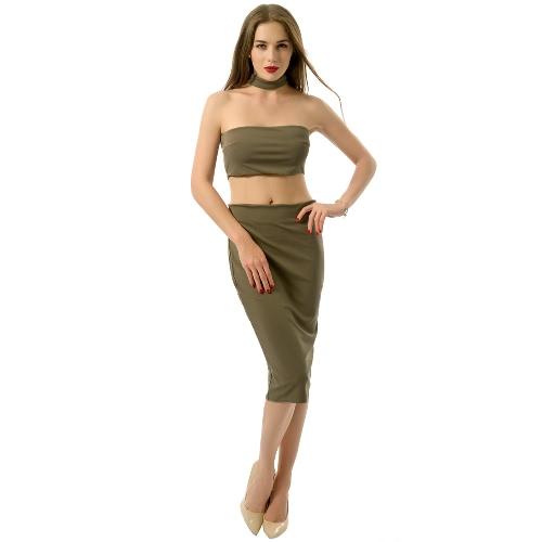 Las nuevas mujeres de dos piezas del hombro Volver cremallera de cierre de espalda escotada de la cosecha superior de la falda de Midi Blanco / Negro / Verde Oscuro