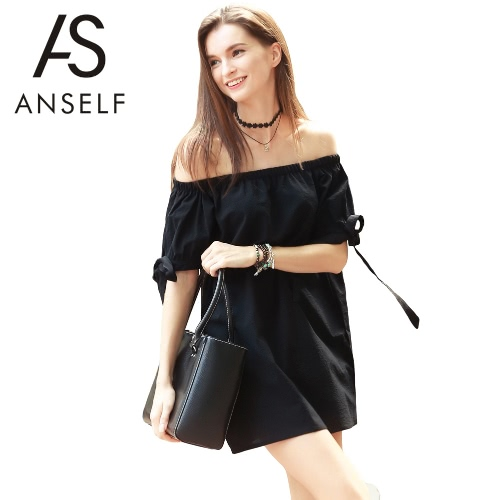 Neue Art und Weise Frauen-Kleid-Boot-Ausschnitt Selbstriegel Cuff weg von der Schulter mit kurzen Ärmeln beiläufige lose Kleid Schwarz