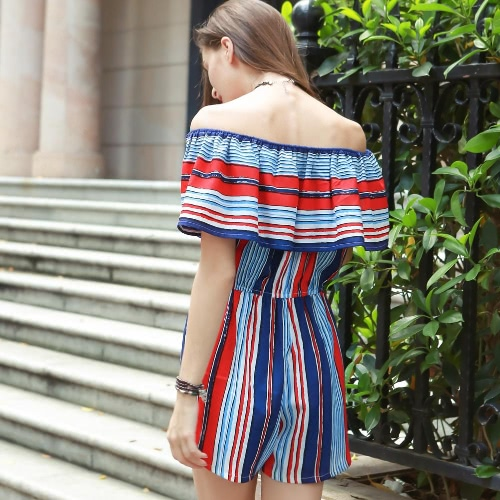 TOMTOP / New Sexy Women Jumpsuit Contrast Stripe Ruffle Off Shoulder Pocket Short Playsuit Rompers Overalls