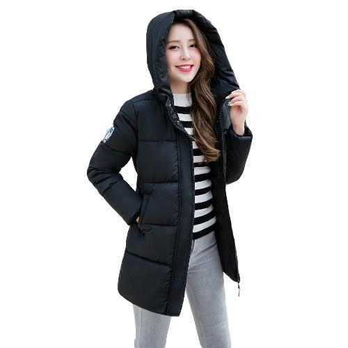 Nuevas mujeres forman la capa encapuchada de la cremallera de fijación acolchado bolsillos de manga larga ocasional Outwear Negro / Gris claro