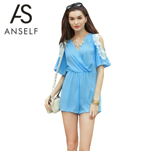 Sexy Women Chiffon Jumpsuit Crochet Lace Cut Out Shoulder Cross Front V-neck Short Sleeves Casual Playsuit Rompers Blue