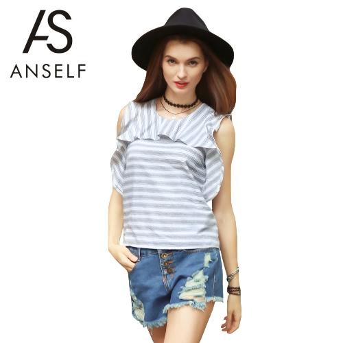 Mujeres Nueva camiseta de la manera impresión de la raya con volantes cuello redondo sin mangas de la cremallera top de la blusa blanca