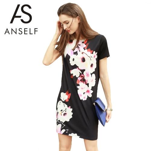 Las mujeres mini vestido floral de la nueva vendimia de impresión de manga corta del cuello de O Retro Negro vestido recto ocasional