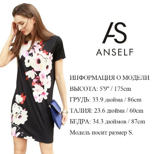 新着ビンテージ女性のミニドレス花柄プリント半袖Oネックカジュアルレトロストレートドレスブラック