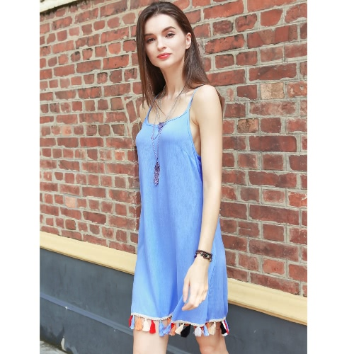 TOMTOP / Mulheres Cami deslizamento Vestido Tassel guarnição Spaghetti Strap curto sem mangas Mini vestido azul