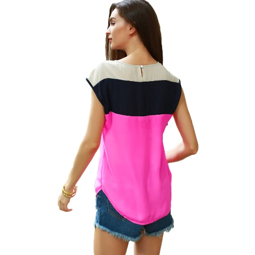 Neue Art und Weise Frauen-Chiffon- Blusen-Multicolor-Block-Knopf mit asymmetrischem Saum O Ansatz beiläufige lose Bluse Top Rose