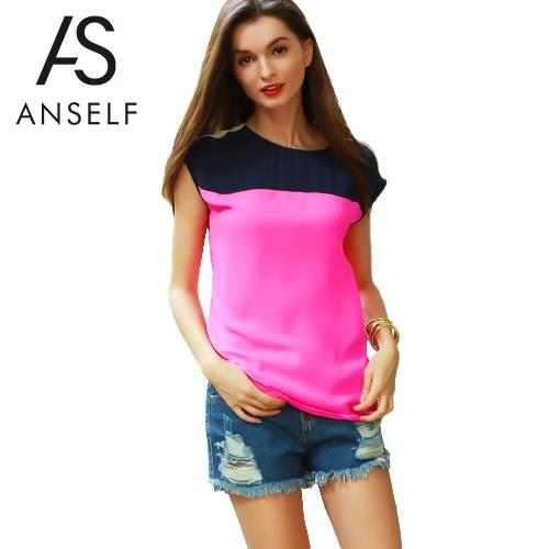 Nova Moda Mulheres Chiffon Blusa Multicolor Bloco Botão Asymmetric Hem O Neck casual solta Blusa Top Rose