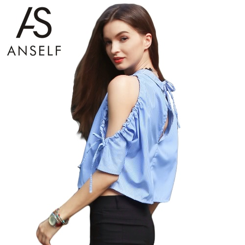 New Fashion Women T-shirt Backless Cold Shoulder Turn-Down Collar V Voltar Blusa Bandage Batwing Top Azul